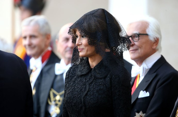 The First Lady stepped out in Dolce & Gabbana to meet with Pope Francis at the Vatican. She accessorised with a black lace veil.