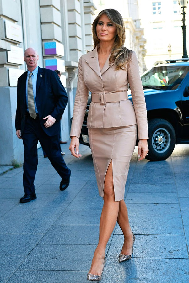 The First Lady wore Belgian designer Maison Ullens and a pair of Manolo Blahnik heels during an event at the Magritte Museum in Brussels with French First Lady Brigitte Macron.