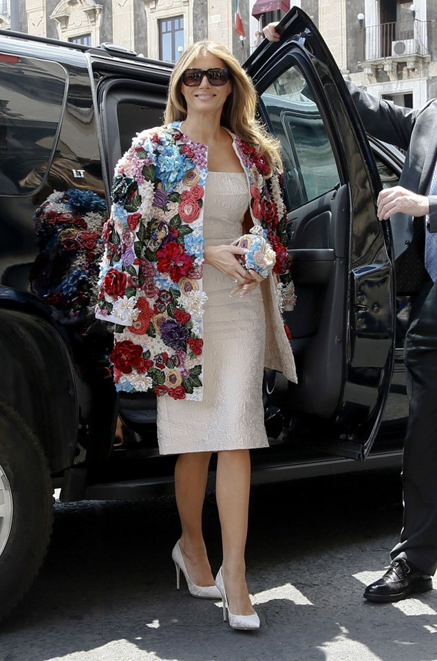 Trump raised eyebrows when she donned a $70,000 AU jacket by Dolce & Gabbana to attend a lunch with spouses of the G-7 leaders in Sicily. The floral-applique jacket is not yet available in stores.