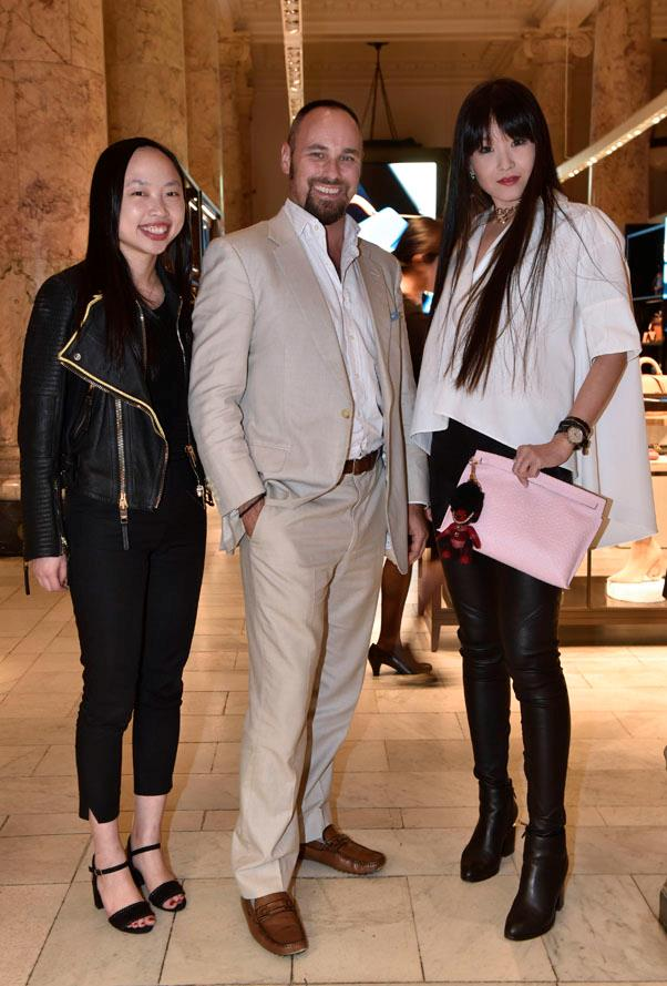 Pommery's Jon Cammell with Cathy Xu and Icy Ling.