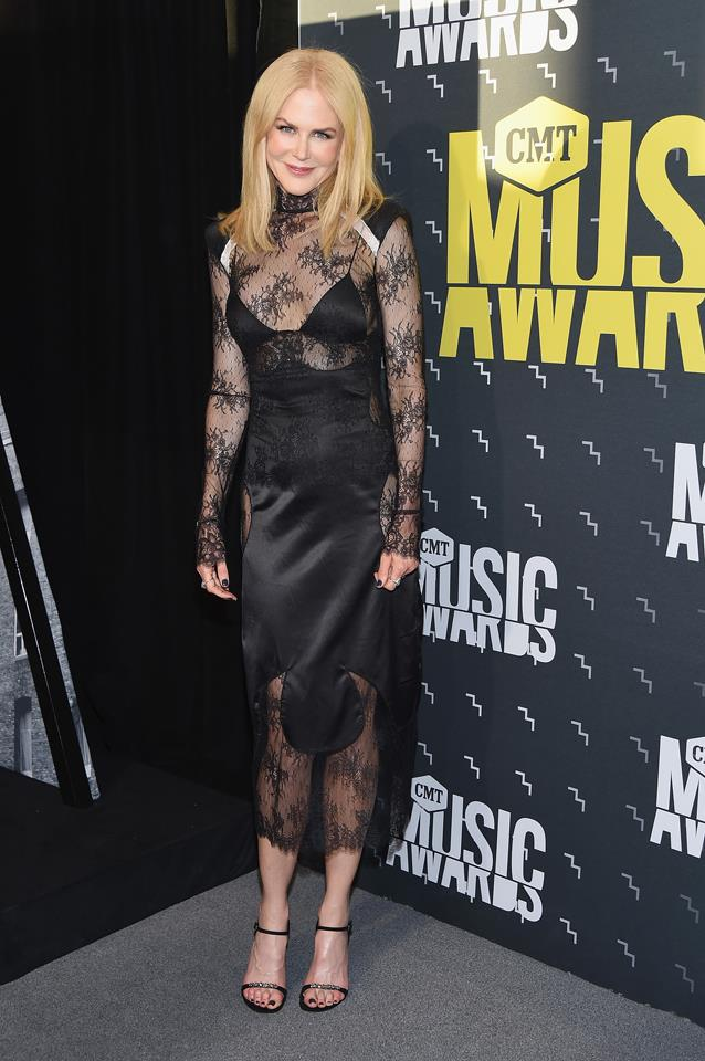 June 9, 2017<br><br>  Nicole stepped out at the Country Music Awards in support of Keith Urban wearing an edgy lace black dress by Off-White.