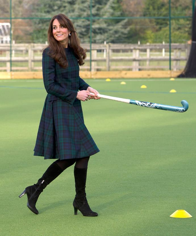 The Duchess made hockey look chic while wearing this Alexander McQueen coat dress in 2012.