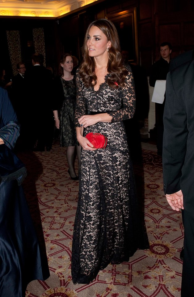 The Duchess looked elegant in a lace Alexander McQueen gown at a University of St. Andrews event in 2012.