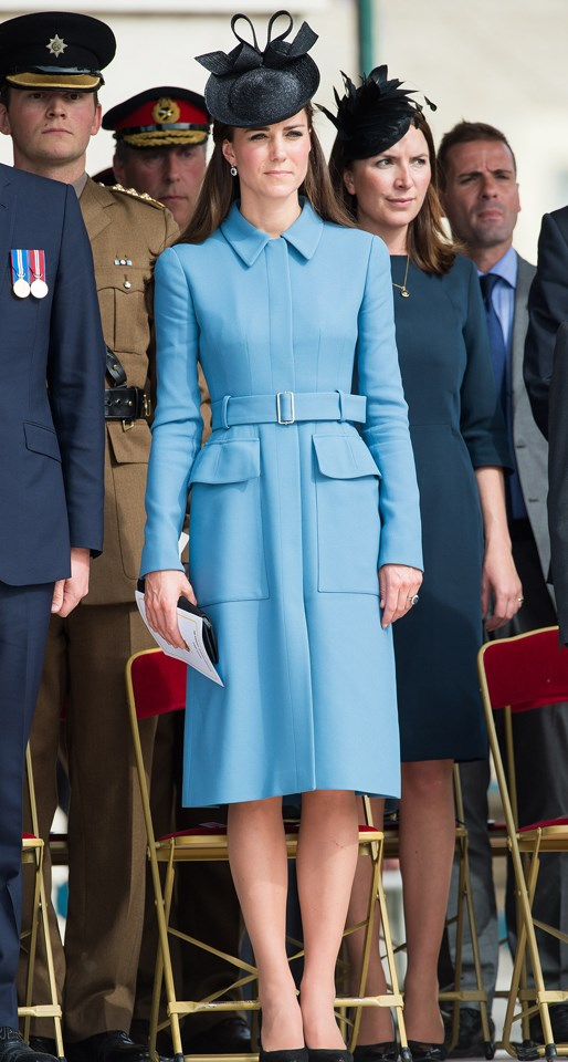 Middleton's pale blue Alexander McQueen coat was an instant sell-out after she wore it to the D-Day 70 Commemorations in 2014.