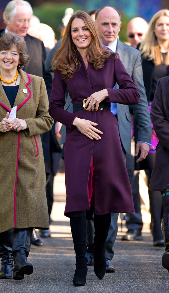 Middleton proved purple is her colour in this Alexander McQueen coat worn at Elswick Park in 2012.