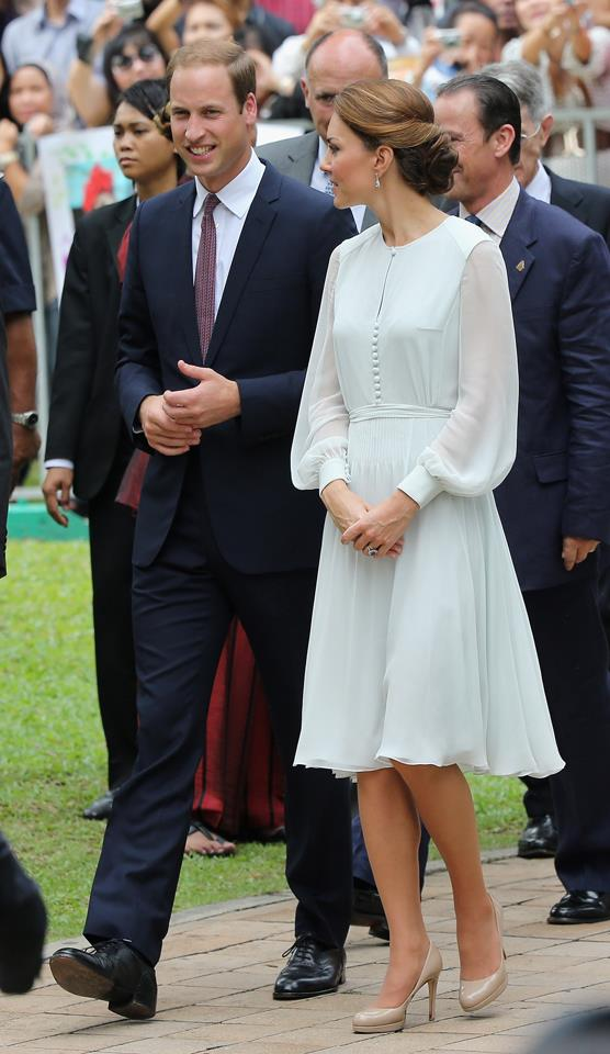 The Duchess looked elegant in a pale blue Alexander McQueen dress during the royal Jubilee tour in 2012.