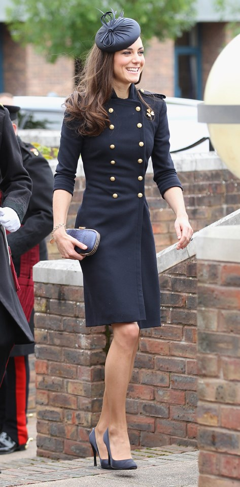 The Duchess looked chic in a navy Alexander McQueen dress at an event held in London in 2011.