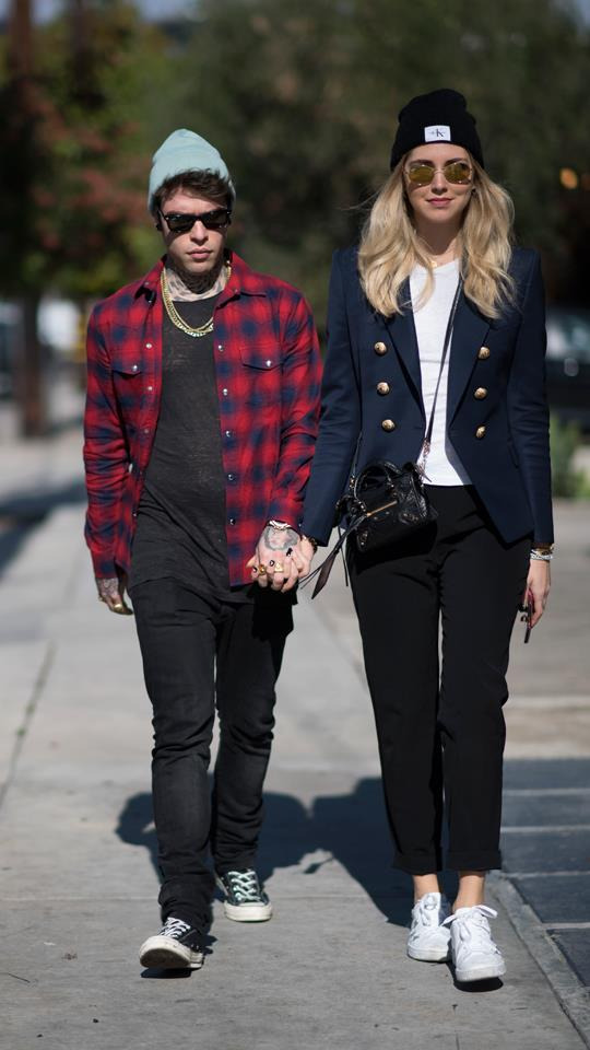 <strong>Chiara Ferragni and Fedez</strong><br> These two often wear complimenting outfits during their down time, with Ferragni preferring a more low-key approach to her usual red carpet glamour when it comes to dressing for the street.