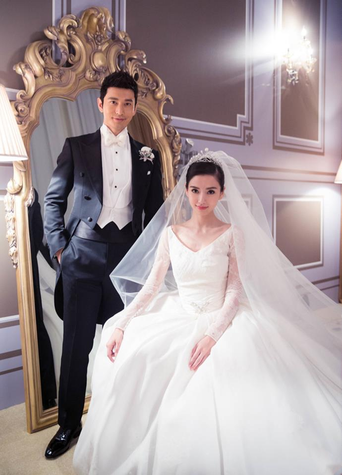 <strong>Angelababy</strong><br> Chinese actress Angelababy wore a voluminous Dior gown to her wedding in 2015. It took approximately five months to make, and was valued at over $1.5 million.