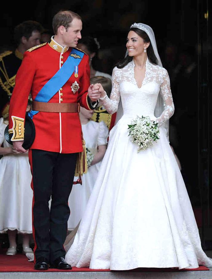 <strong>Kate Middleton</strong><br> Kate Middleton's custom-made Alexander McQueen gown, which featured intricate lace detail and a long, flowing chapel-length veil, was estimated to cost around $388,000 ($514,000 AU).