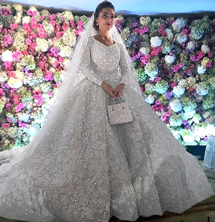 <strong>Khadija Uzhakhovs</strong><br> Khadija Uzhakhovs married a billionaire's son in an appropriately costly dress: her intricate Elie Saab number cost over $1 million.