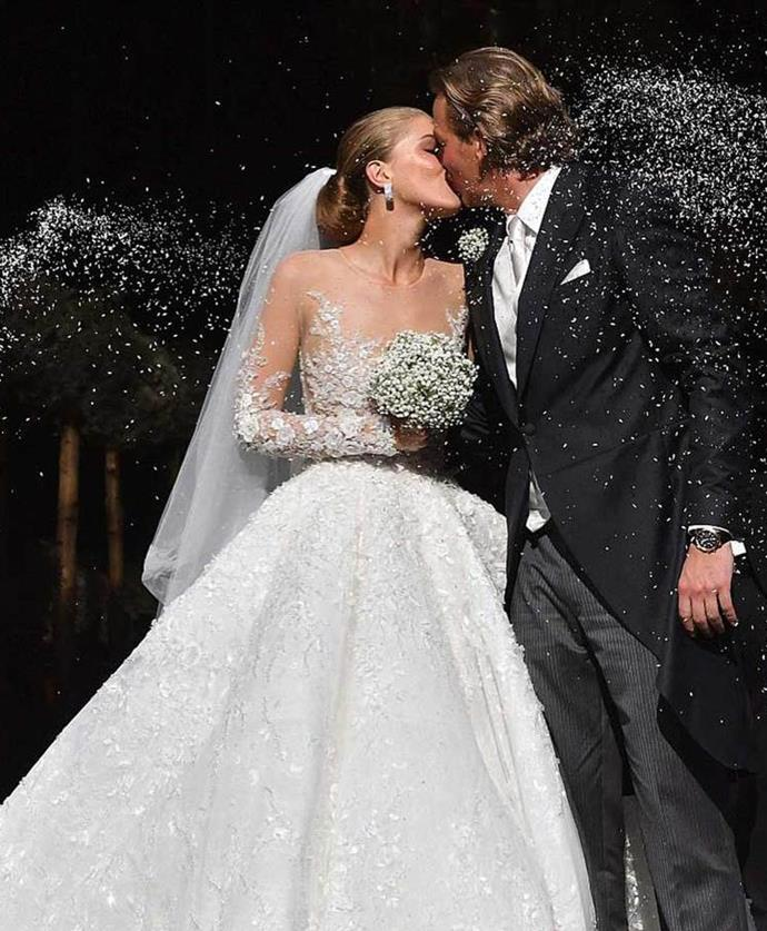 <strong>Victoria Swarovski</strong><br> Victoria Swarovski, the 23-year-old heiress of the Swarovski empire, married Werner Mürz earlier this week. The bride wore a custom-made Michael Cinco gown featuring 500,000 crystals and an eight-metre long train. The price tag? A cool $1 million dollars.