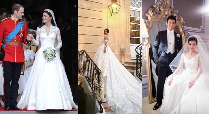 *BAZAAR* rounds up the most extravagant and expensive wedding gowns ever worn.