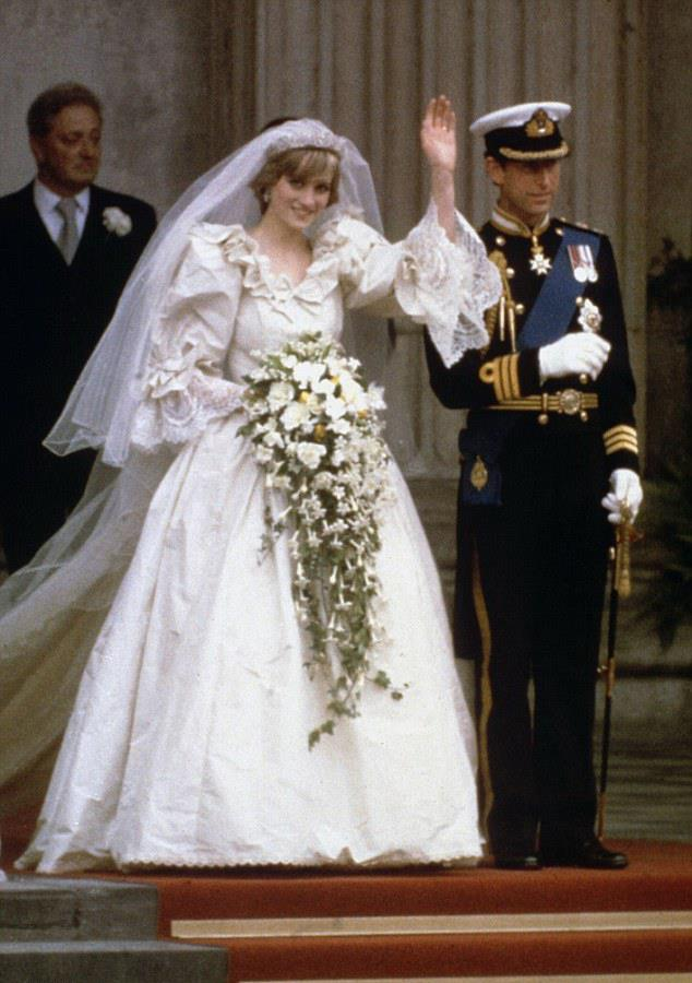 <strong>Princess Diana</strong><br> Designed by David and Elizabeth Emanuel, Princess Diana's ivory silk taffeta and lace gown boasted a six-metre train and was decorated with 10,000 hand embroidered pearls. The cost today? An estimated $150,000 ($198,000 AU).