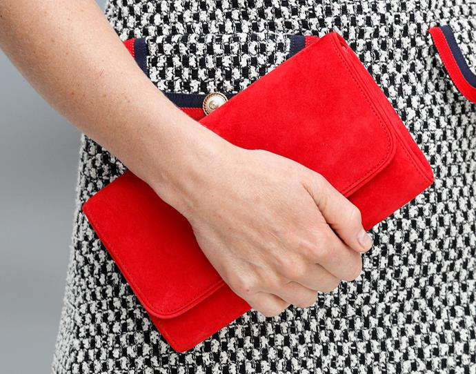 Close-up detail of Kate's clutch.