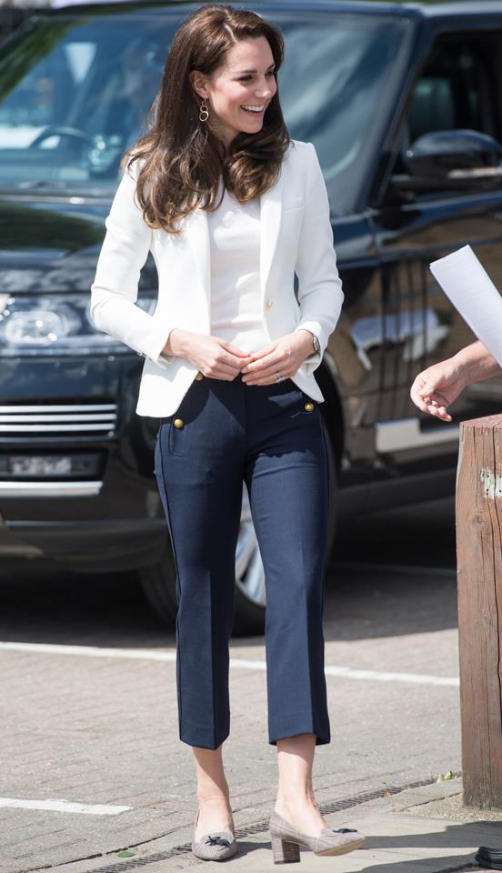 Kate stepped out at the 1851 Trust wearing a chic pair of tweed J. Crew heels.