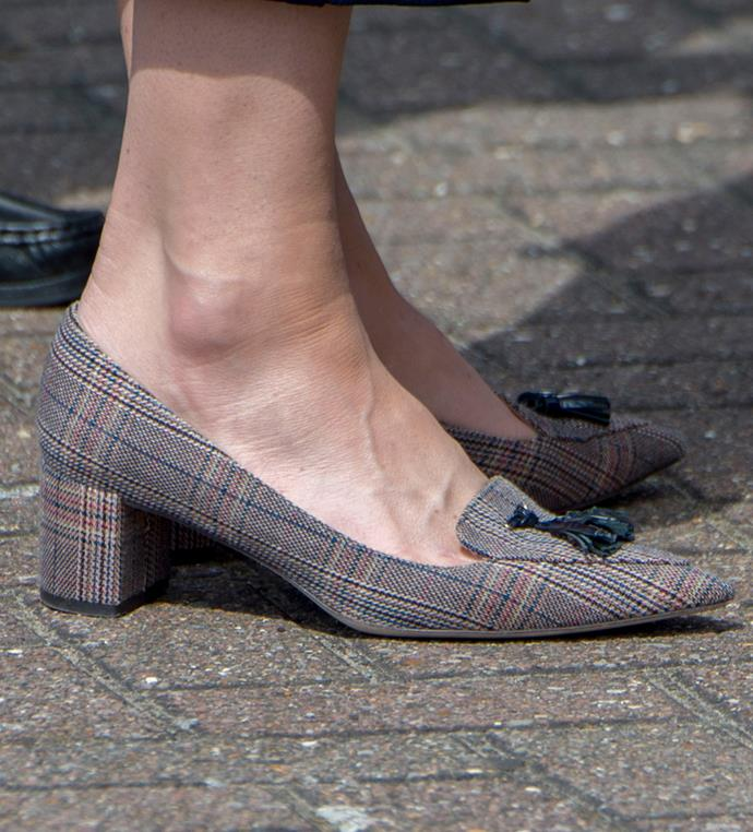 Close-up detail of Kate's heels.