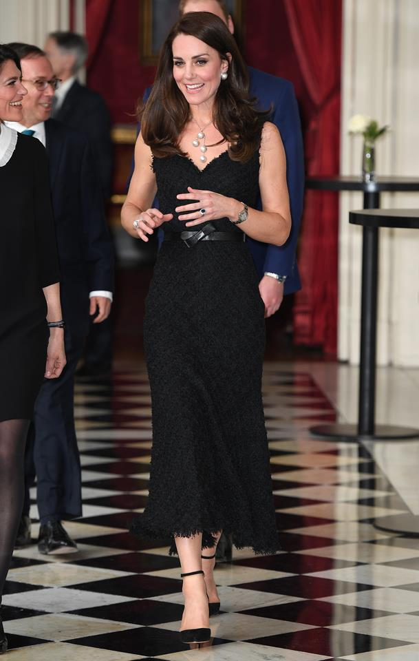 Kate wore this divine intricate pearl drop necklace at an embassy meeting in Paris.