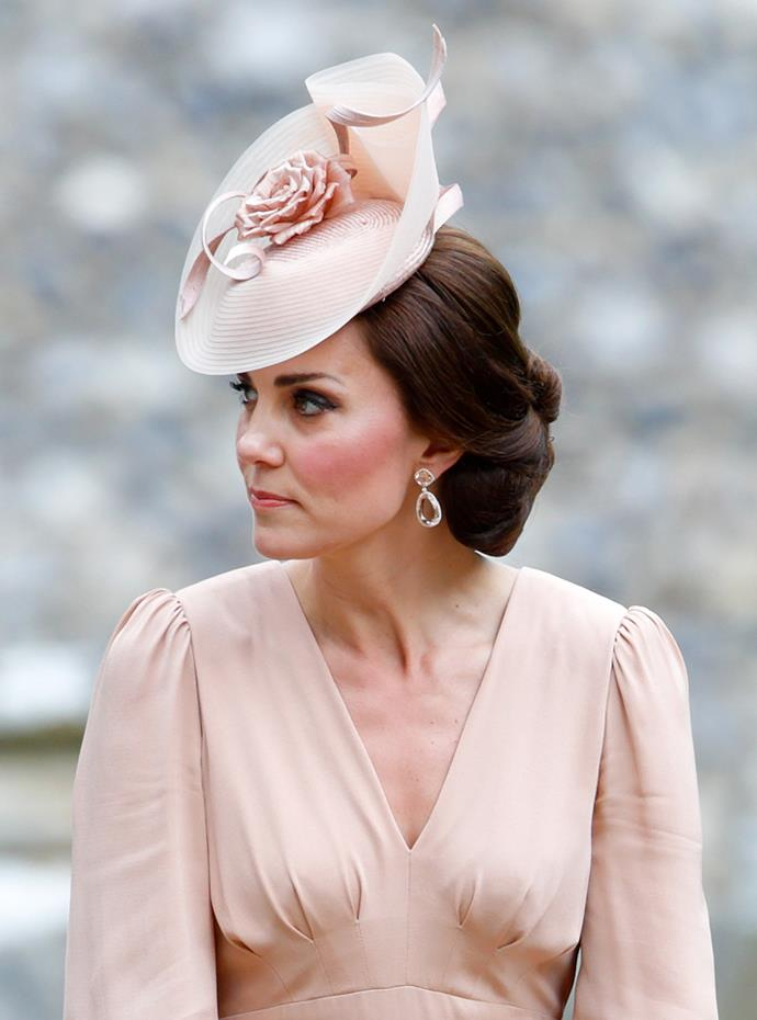 Close-up detail of Kate's earrings.