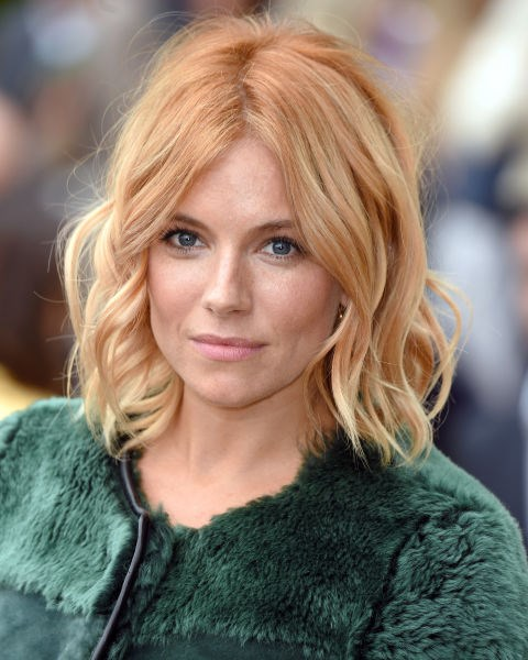 Sienna Miller with peach hair