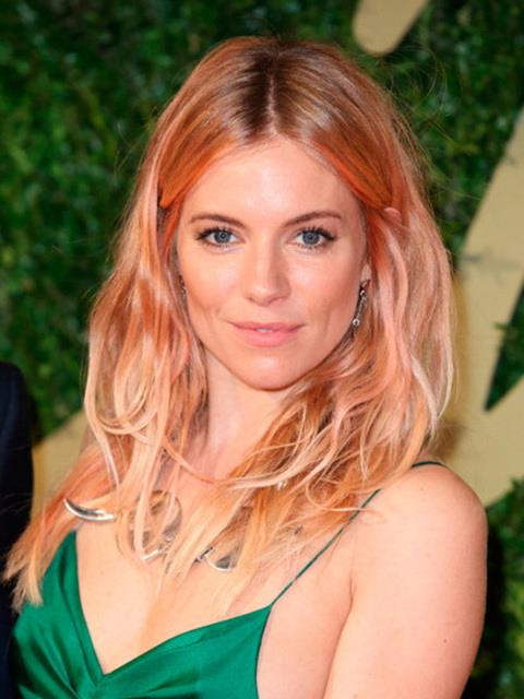 Sienna Miller with rose gold hair.