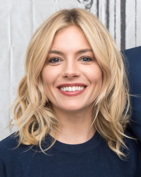 Sienna Miller with a blonde lob.