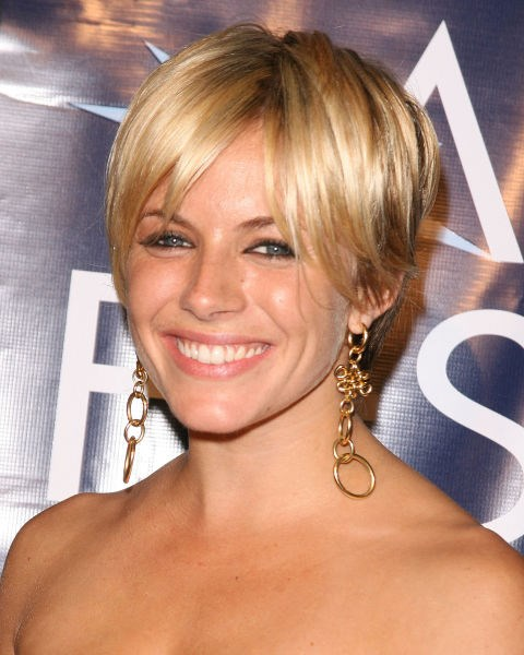 Sienna Miller with a pixie crop.