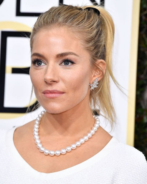 Sienna Miller with a ponytail.