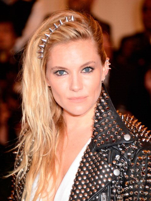 Sienna Miller with a studded hairband.