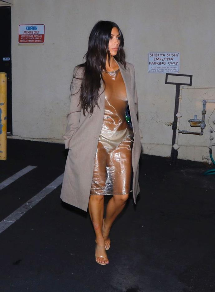 Kim wore her most naked dress yet while out and about in California, July 2017.