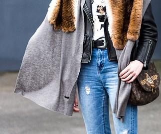 Jeans leather jacket