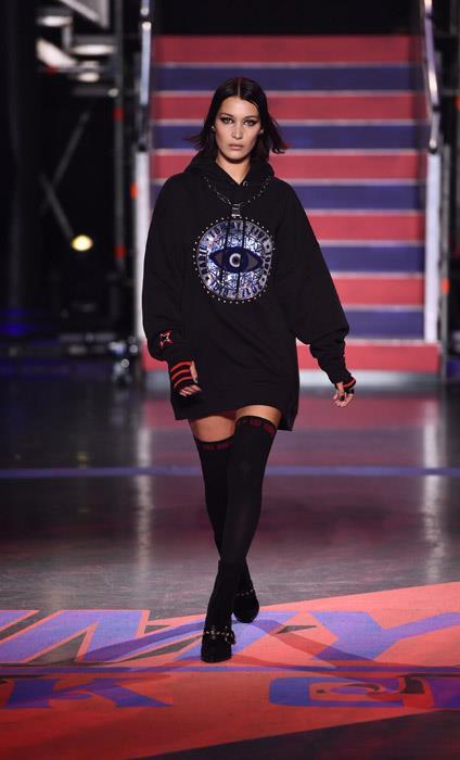 Bella Hadid walks the Tommy Hilfiger show.