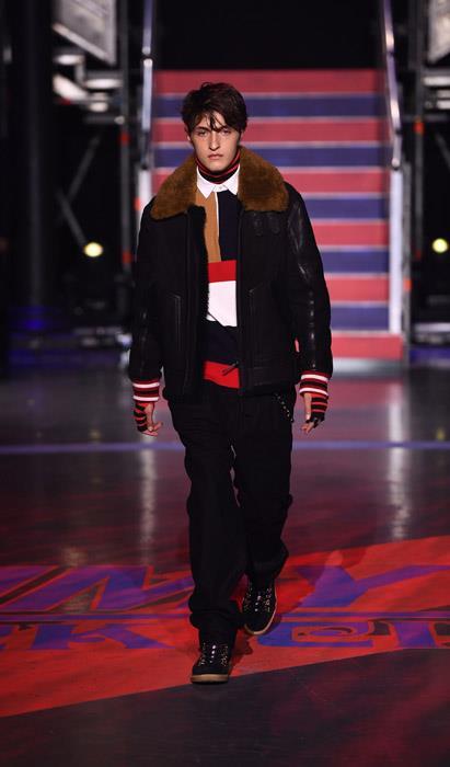 Anwar Hadid walks the Tommy Hilfiger show.