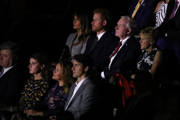 Prince Harry (top row, second to the left) seated beside Melania Trump at the Opening Ceremony of the 2017 Invictus Games.