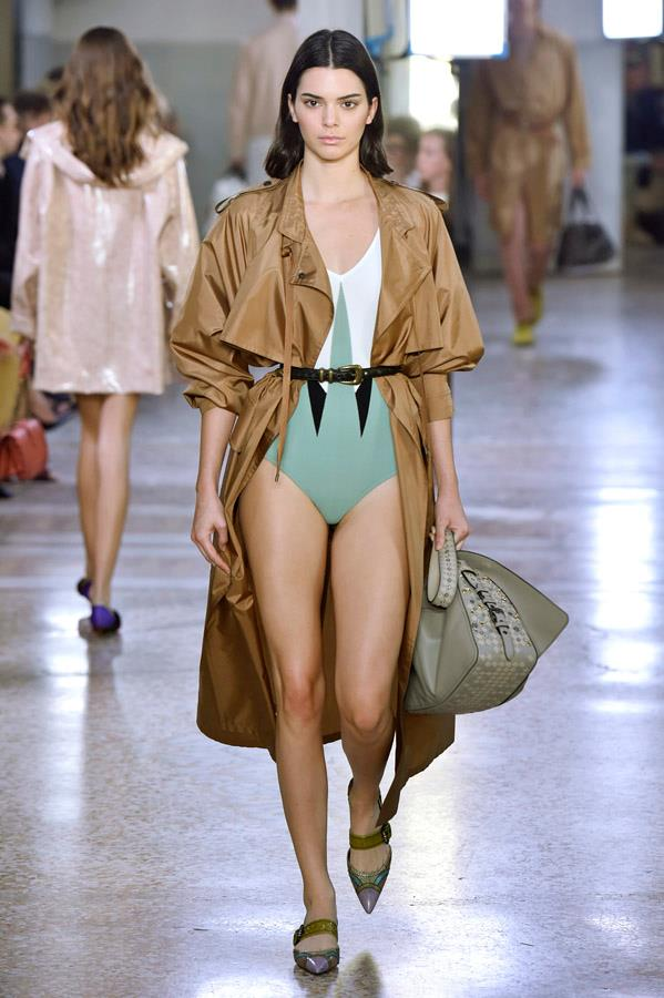 Kendall Jenner on the catwalk for Bottega Veneta.