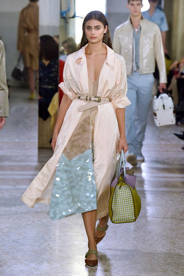 Taylor Hill on the catwalk for Bottega Veneta.