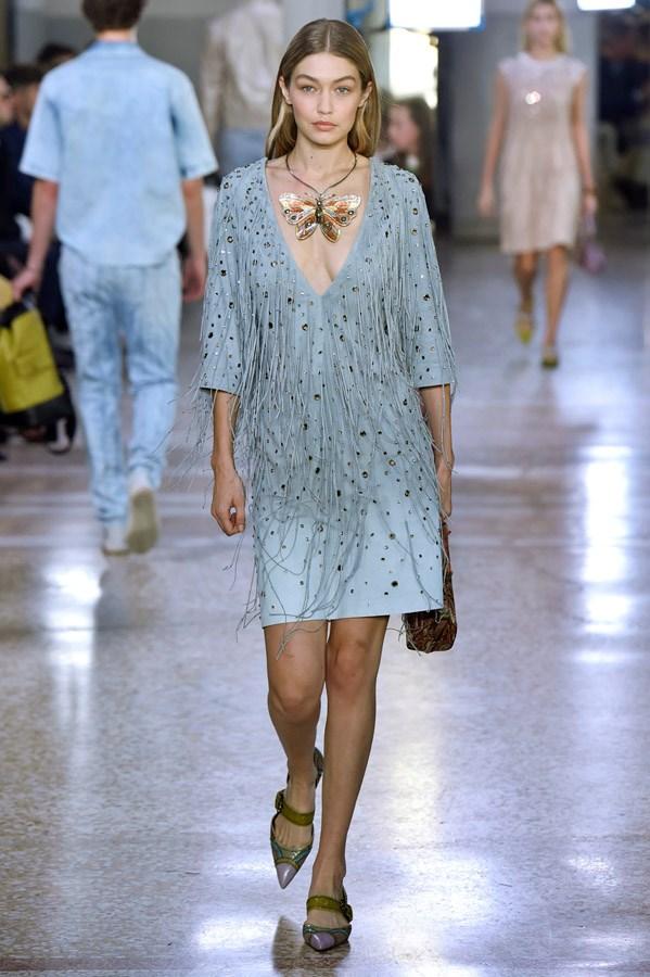 Gigi Hadid on the catwalk for Bottega Veneta.