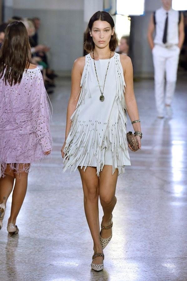 Bella Hadid on the catwalk for Bottega Veneta.