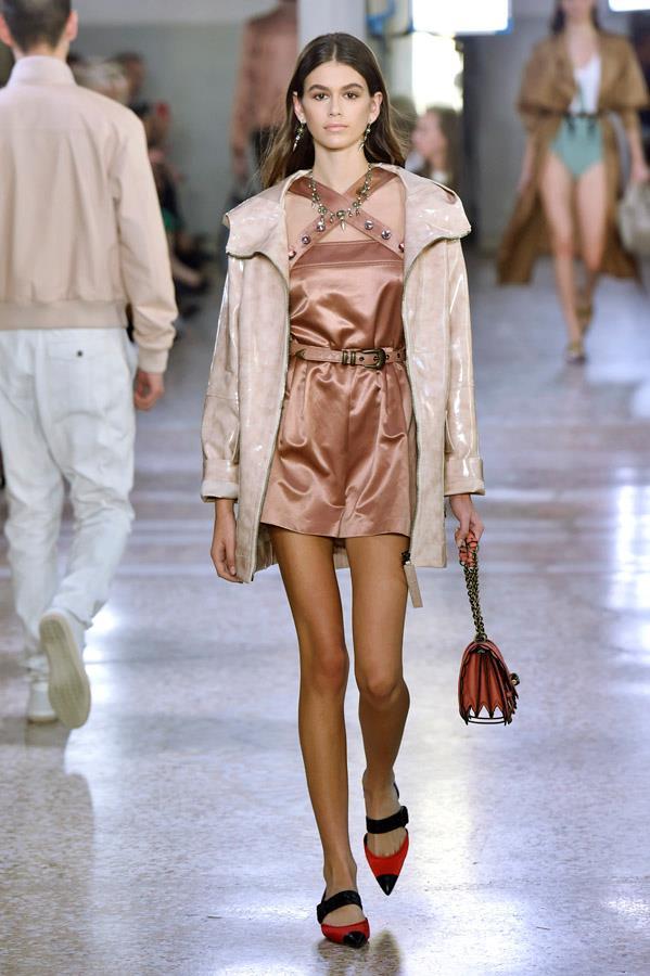 Kaia Gerber on the catwalk for Bottega Veneta.