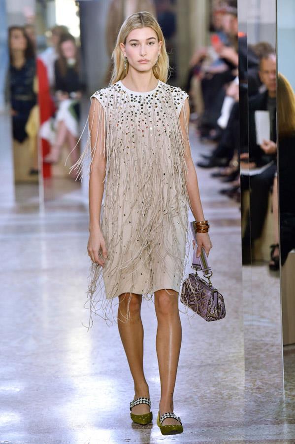 Hailey Baldwin on the runway for Bottega Veneta.