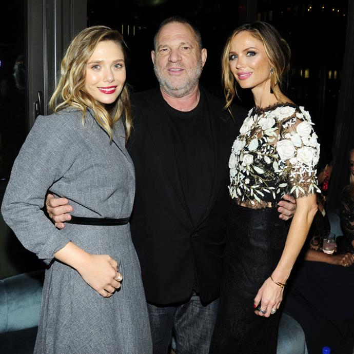 Elizabeth Olsen, Harvey Weinstein and his wife Georgina Chapman at the after-party for Wind River, August 2017