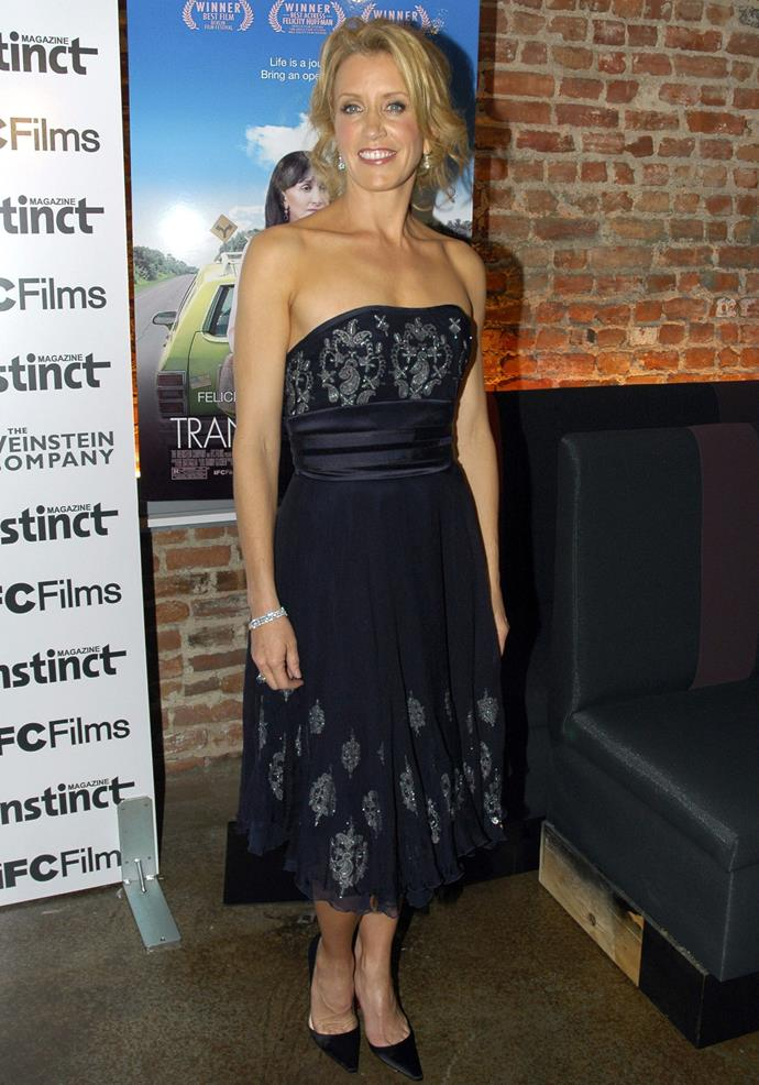 Felicity Huffman in Marchesa at the New York Premiere of Transamerica.