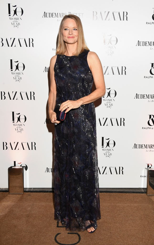 Jodie Foster arrives at the Harper's Bazaar Woman Of The Year Awards.