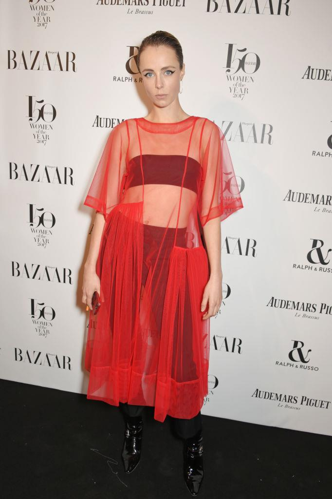 Edie Campbell arrives at the Harper's Bazaar Woman Of The Year Awards.