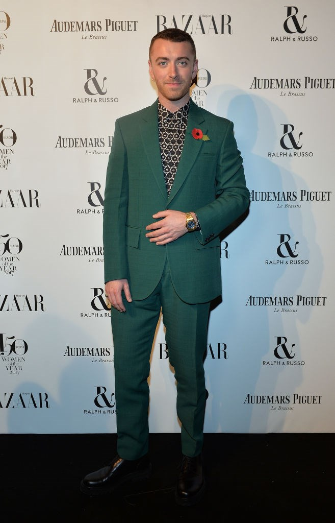 Sam Smith arrives at the Harper's Bazaar Woman Of The Year Awards.