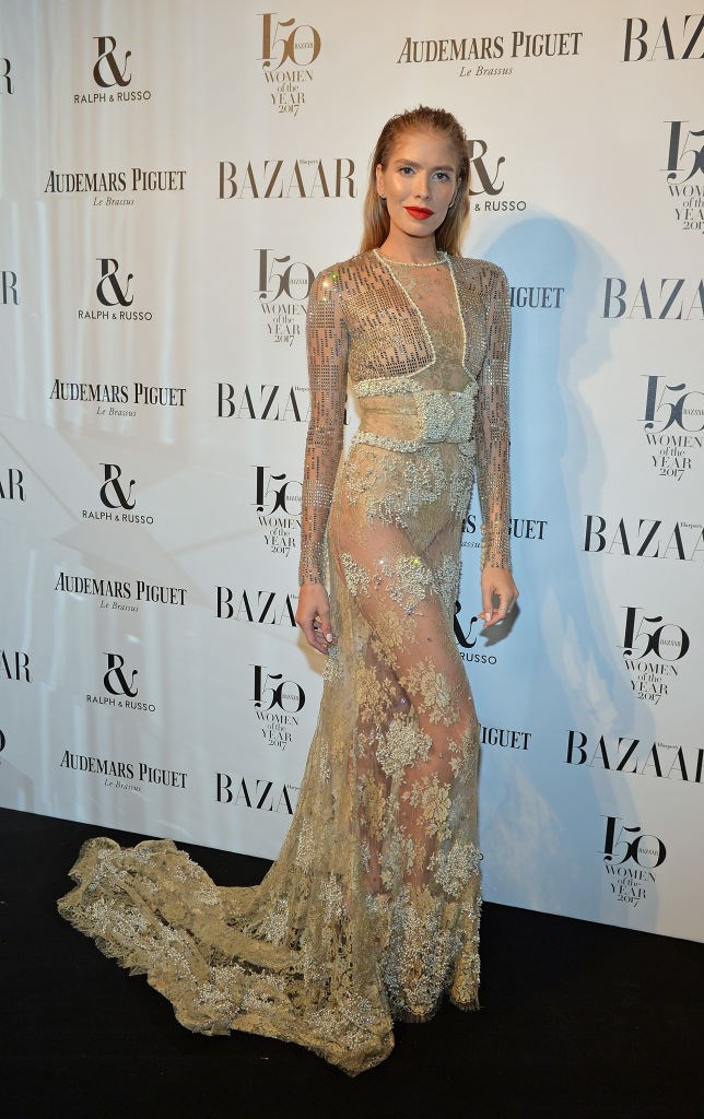 Elena Perminova arrives at the Harper's Bazaar Woman Of The Year Awards.