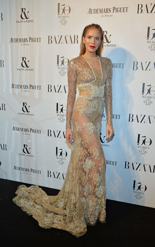Elena Perminova arrives at the Harper's Bazaar Woman Of The Year Awards.