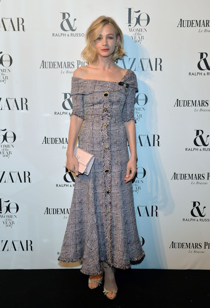 Carey Mulligan arrives at the Harper's Bazaar Woman Of The Year Awards.
