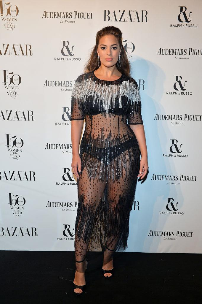 Ashley Graham arrives at the Harper's Bazaar Woman Of The Year Awards.