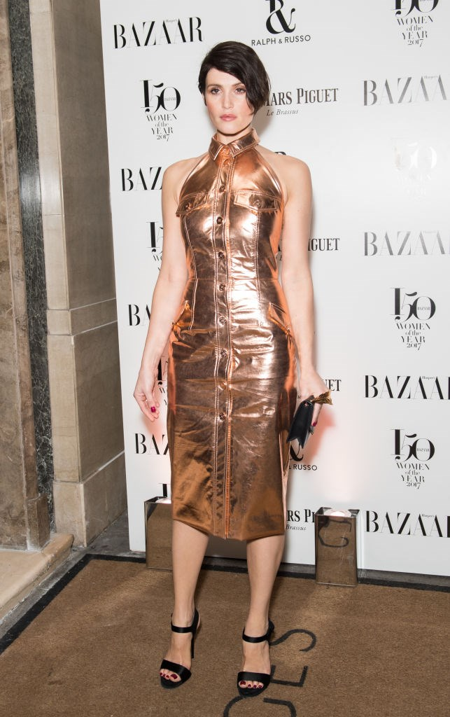 Actress Gemma Arterton arrives at the Harper's Bazaar Woman Of The Year Awards.
